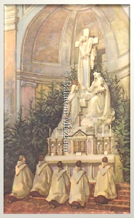 A keszthelyi neoromán stílusú római katolikus templom (Kármelita Bazilika) főoltárát ábrázoló festmény-repró képeslapot a városi Kármelita Zárda adta ki 1937-ben, hogy a befolyt összeget Szent Terézke orgonája (Angster orgona) javára fordítsa.