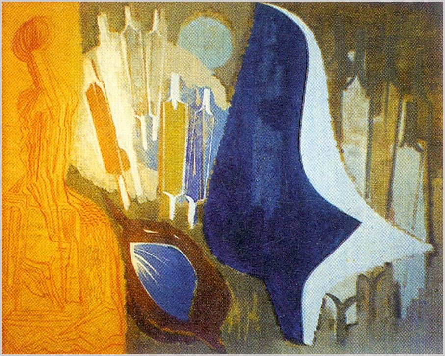 """""""Középen kékes-barnás alapon lebegő, nagy madáralak, bal oldalon vörösesbarna bő szoknyás nő. Lent középen falevél, kék belsővel. A háttérben, a madár körül kilenc falábú figura áll."""" (Hárs Éva)"""