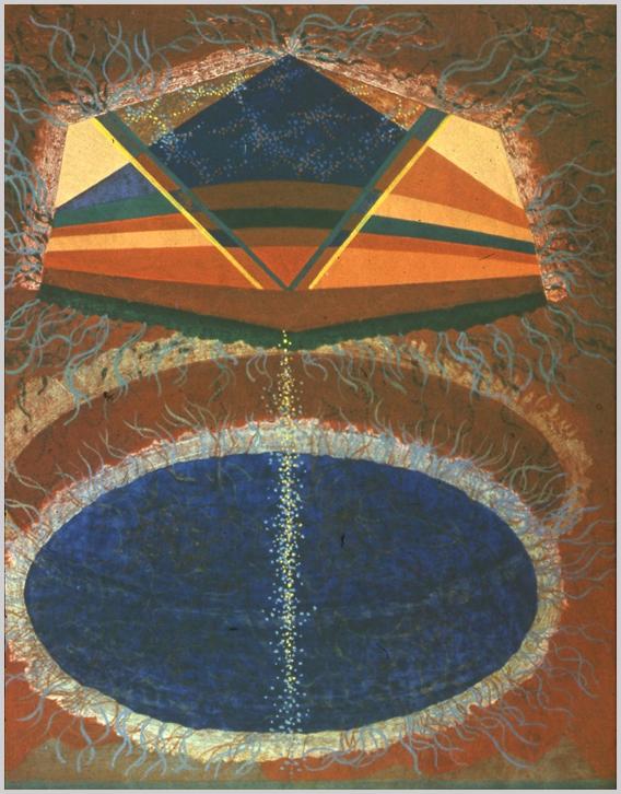 """""""Egymást fedő két ellipszishez kapcsolódó hatszögű forma, mely több síkra tagolt. A formák széleiből hullámzó vonalak nőnek ki. Kék és barna színek."""" Hárs Éva)"""