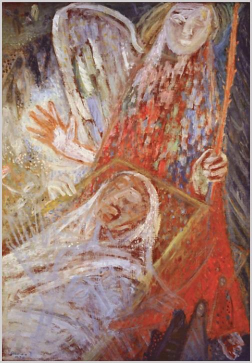 """""""A halál angyala című festményéről… egyszerre világosan, érthetően robban felénk a képek mondanivalója: a halálfélelem. A stílusváltozás… oka a háború előtti fojtogatóan forró légkör, amely a zsidó Ámos mellére egyre nyomasztóbban nehezült."""" (Haulisch L.)"""
