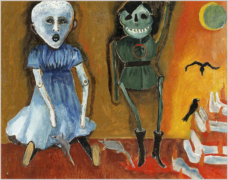 """""""Az Epilógus… a legmegrázóbb kép a félelem betonbunkeréből: patkányok járnak körül egy kékruhás, kopasz, sikolyra torzult szájú  rab babát, a  vicsorogva karlendítő Hitler marionett mellett az embermáglyák füstje varjakkal száll az égbe."""" (Szarka Zsuzsa)"""