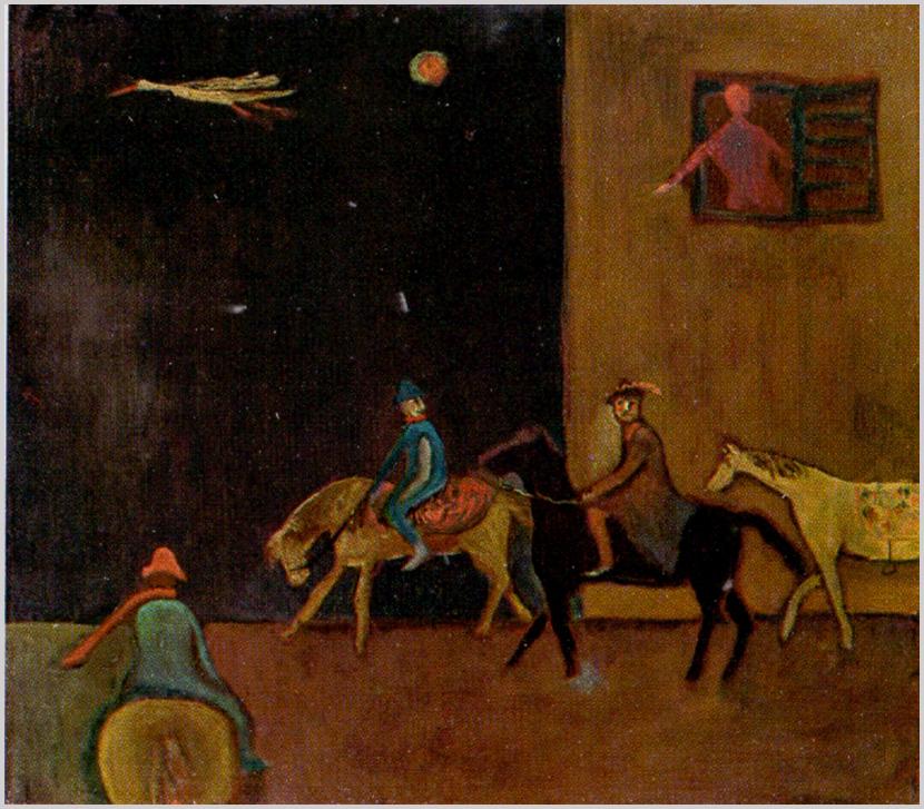 """"""" A három lovas rejtélyes, álomszerű… Mozgásuk inkább felfelé mutat, mintha arrafelé menetelnének. A vöröslábú, vöröscsőrű gólya felé, amely kiterjesztett szárnnyal menekül. Az égen narancsos-kékes nap-hold dereng."""" (S. Nagy Katalin)"""