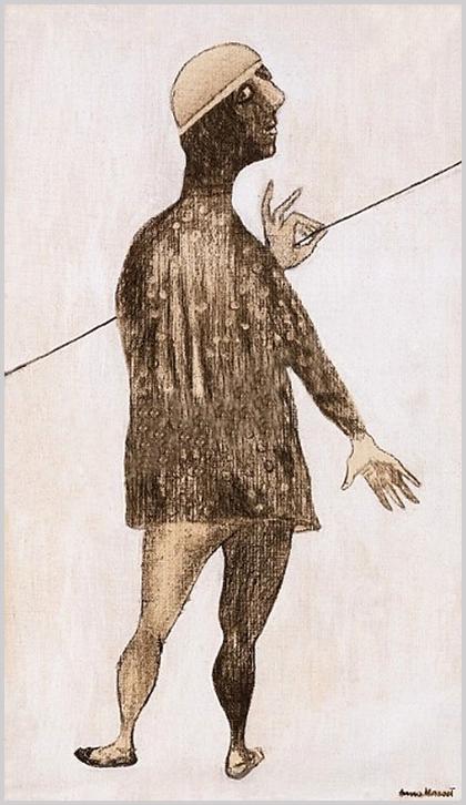 """""""Hamlet az őrületbe kergetett zsidó próféta vagy rabbi, aki deszakralizált tér-időben bolyong. Rettegve tekint hátra a tisztátalan múltba, s félve, pantomim mozdulatokkal tapogatja a bizonytalan jövő drótkötél-fonalát: szellemi gettólakó."""" (kobzosBBL)"""