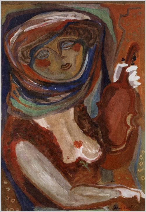 """""""Mély színek sodrásával kontúrozott, szenvedő női arc. Ámos utolsó festői korszakának megidézett 'apokaliptikus' színdramaturgiája és szimbolikája ötvöződik Anna Margit termékenységet, életösztönt, reményt sugárzó szecessziós stílusjegyeivel."""" (kobzosBBL)"""