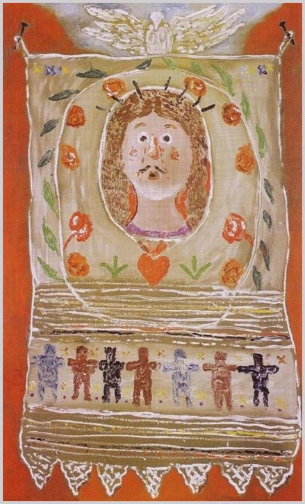 """""""Burjánzó ornamentika ragyogó színei közt hét kis kalligrafikus figura. A mesélőkedvű festő pompás kedvében alkotta ezt a tökéletes forma- és színritmikájú képet; pingáló asszonyok kezére ismerünk, szőttesek alkotóinak tapasztalatait örökítette meg.""""(SNK)"""