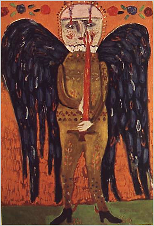 """""""A tépett, hulló szárnyak érzékeltetésén túl a bemocskolt glória felmutatásával döbbent ránk a festő. A tompa, beteges, lázpettyes arcban a riadt, karikás szem; háború, özvegység, hasztalan küzdelmek látásától rémülten tágranyíló."""" (S. Nagy Katalin)"""