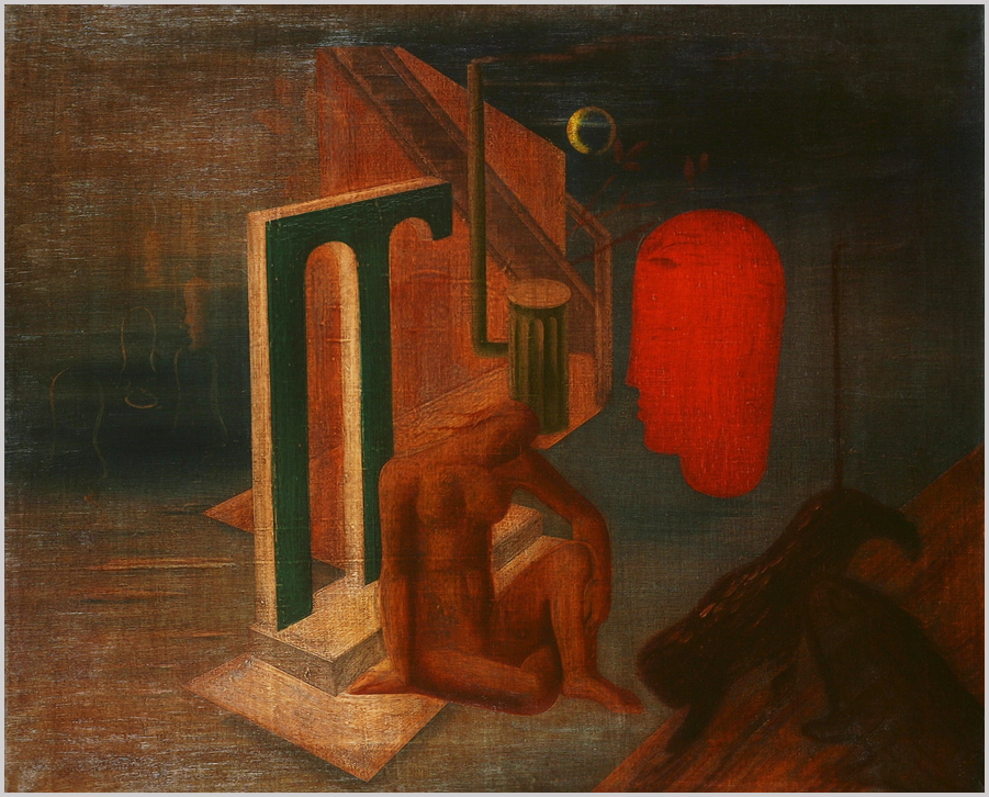 """""""Oszlopos épülettöredék előtt ülő női szobortorzó, vállára hajtott fejjel. Mellette a térben lebegő, nagyobb vörös profil fej."""" (Hárs Éva)"""