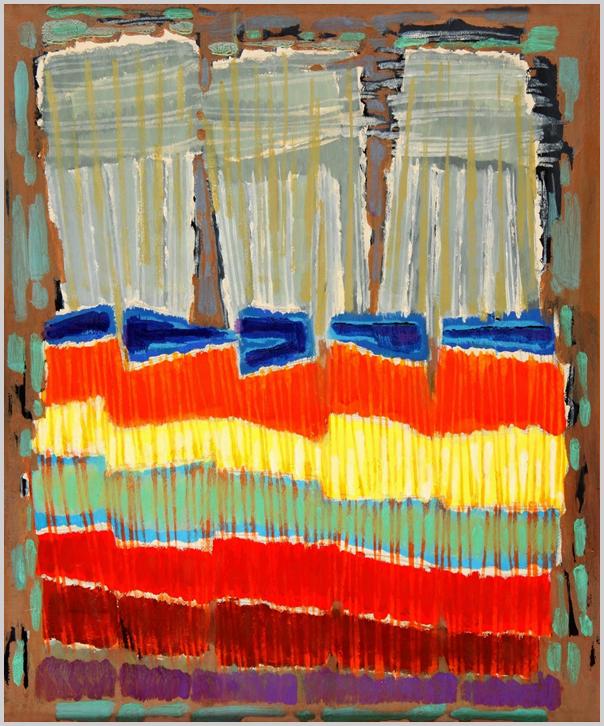"""""""Egymás mellett szorosan 5 tábla, lent három részes. Felületük függőleges és vízszintes vonalhálóval fedett. Kék, vörös, világos citromsárga, kékesszürke színek."""" (Hárs Éva)"""