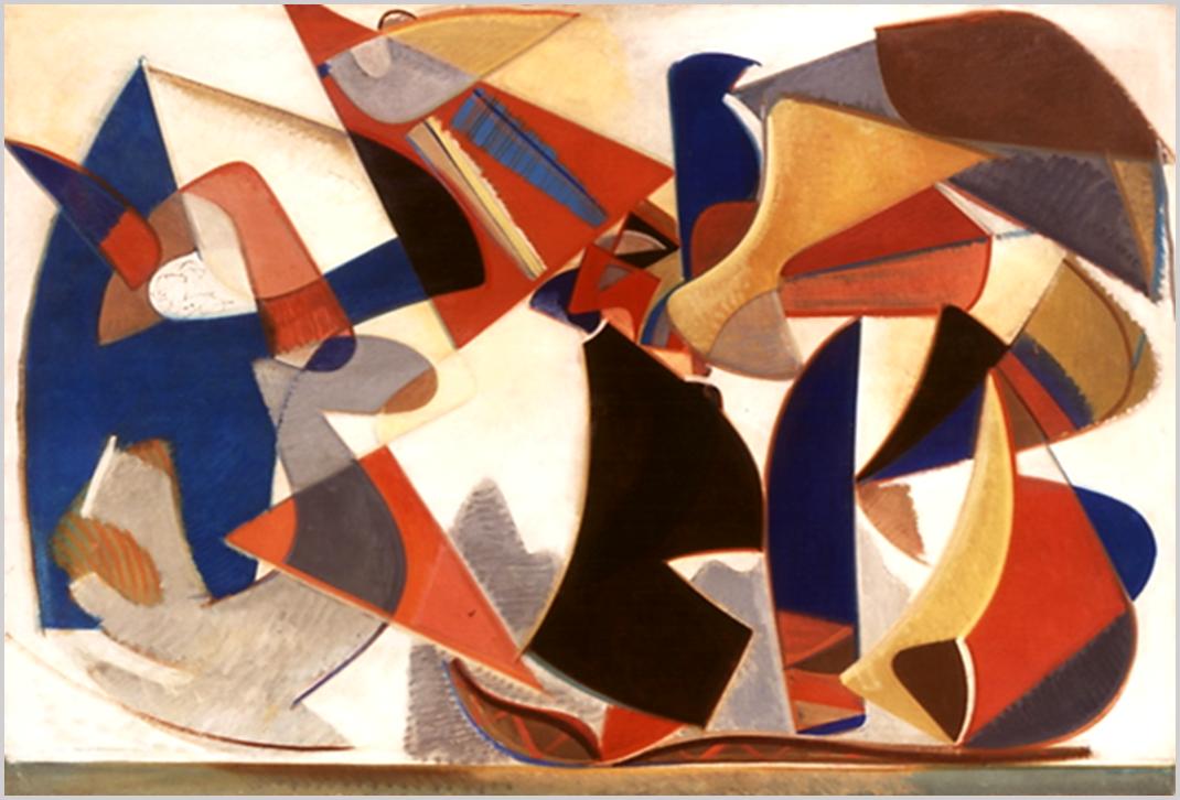 """""""Főként háromszögekkel alakított, többsíkú kompozíció, tengerparti élmények emlékét idézi."""" (Hárs Éva)"""