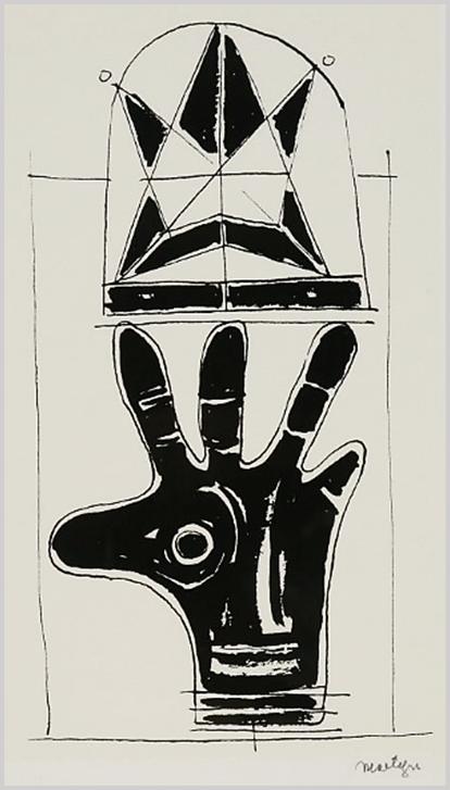 """""""A lap alsó részén kinyújtott kézfej: tenyér, mely egyúttal fejre is utal a szem, az orr és a száj jelölésével. A kifeszített három ujjon félköríves forma, benne csillag alakú szerkezet."""" (Hárs Éva)"""