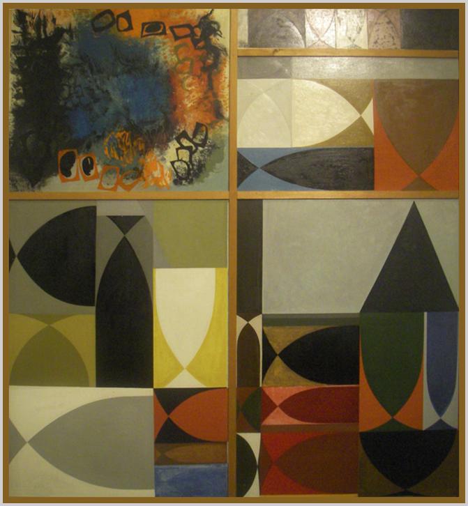 """""""Öt képből összeállított kompozíció. Négy az aranymetszés szabályai szerint kapcsolt négyzetek és téglalapok ritmikus osztásaiból épül, ezeken belül serlegformák, különböző helyzetben. A bal felső ötödik rész fekete, kék, vörös színkompozíció."""" (Hárs éva)"""