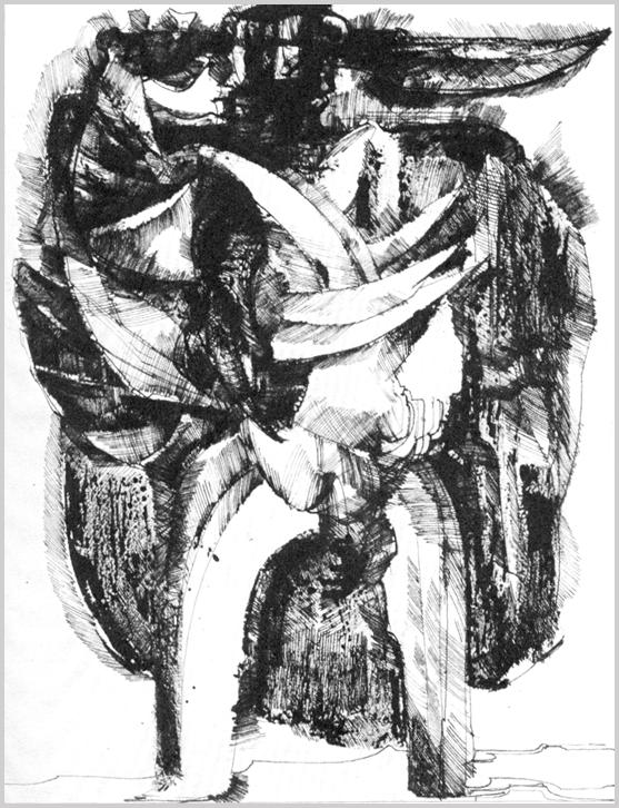 """""""Álló alak, a busó jelmezre utaló formákkal: széles köpeny és szarvak, amelyek ívelt vonalaira épül az egész figura."""" (Hárs Éva)"""