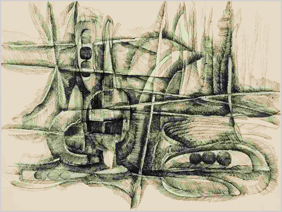 """""""Madarak, tűzikutya, szőlőprés, metszőkés formáira utaló kompozíció. Egymást metsző hosszú egyenes rudak között ívelt formák, helyenként körös díszítéssel."""" (Hárs Éva)"""